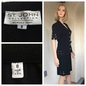 St. John collection knit black suit size 8